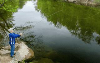 Man fishing in Saco River